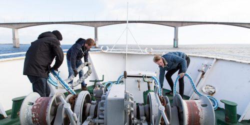 Studenter på Sjökaptensprogrammet på en båt i Kalmarsund